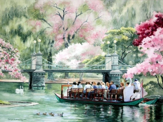Boston Swan Boats | 21 x 29 watercolor SOLD