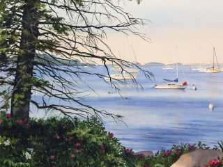 Coastal Maine | 18 x 18 watercolor SOLD