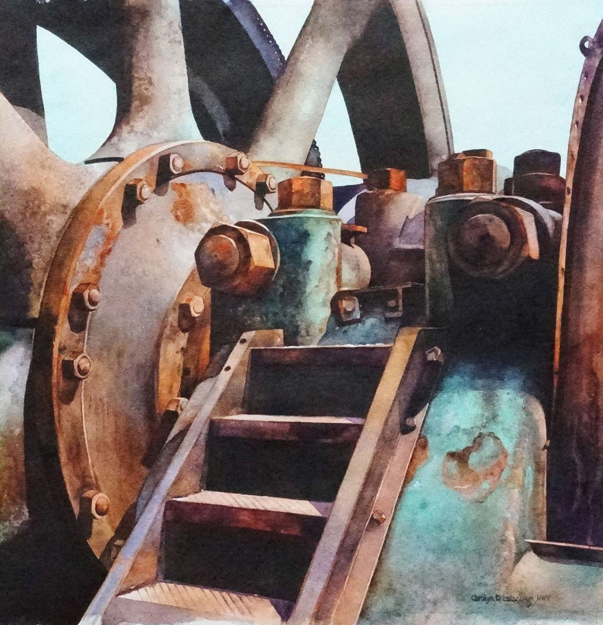 Engine Flywheel | 21 x 21 watercolor