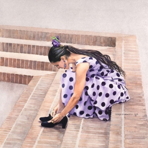 Flamenco Recital III – 21.5 x 21.5 watercolor