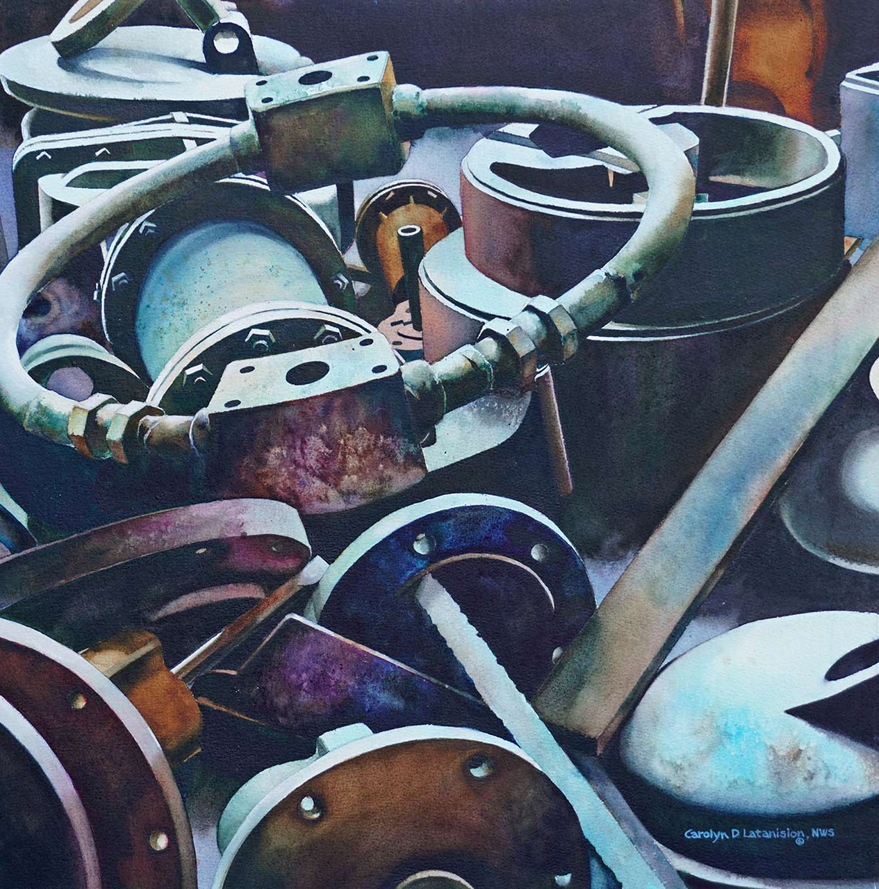 Flanges | 21 x 21 watercolor SOLD