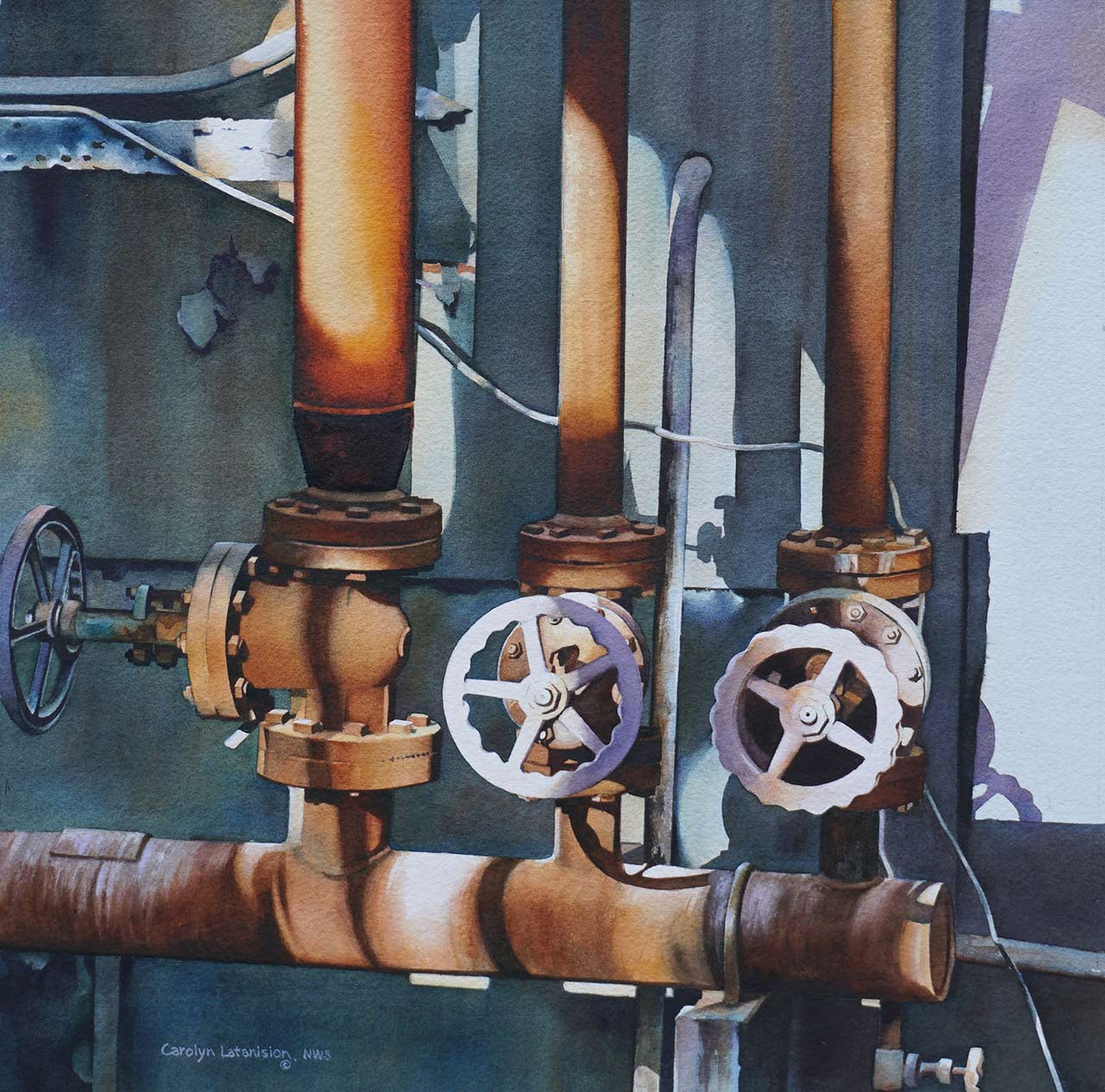 Hot Valves | 21 x 21 watercolor SOLD