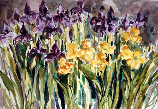 Irises, Irises | 14 x 20 watercolor. oil pastel