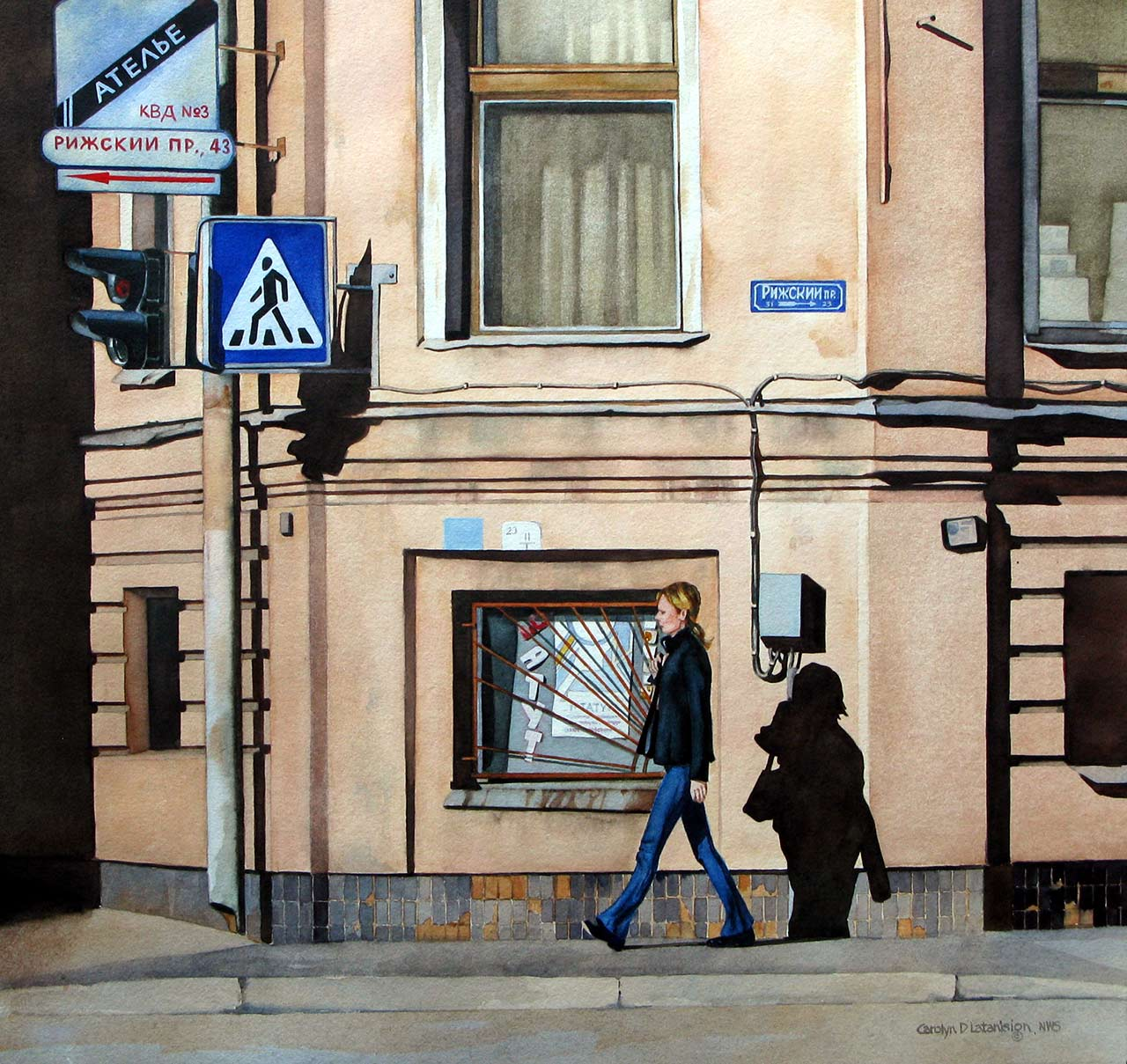 Shadows in St. Petersburg | 18.5 x 19.5 watercolor