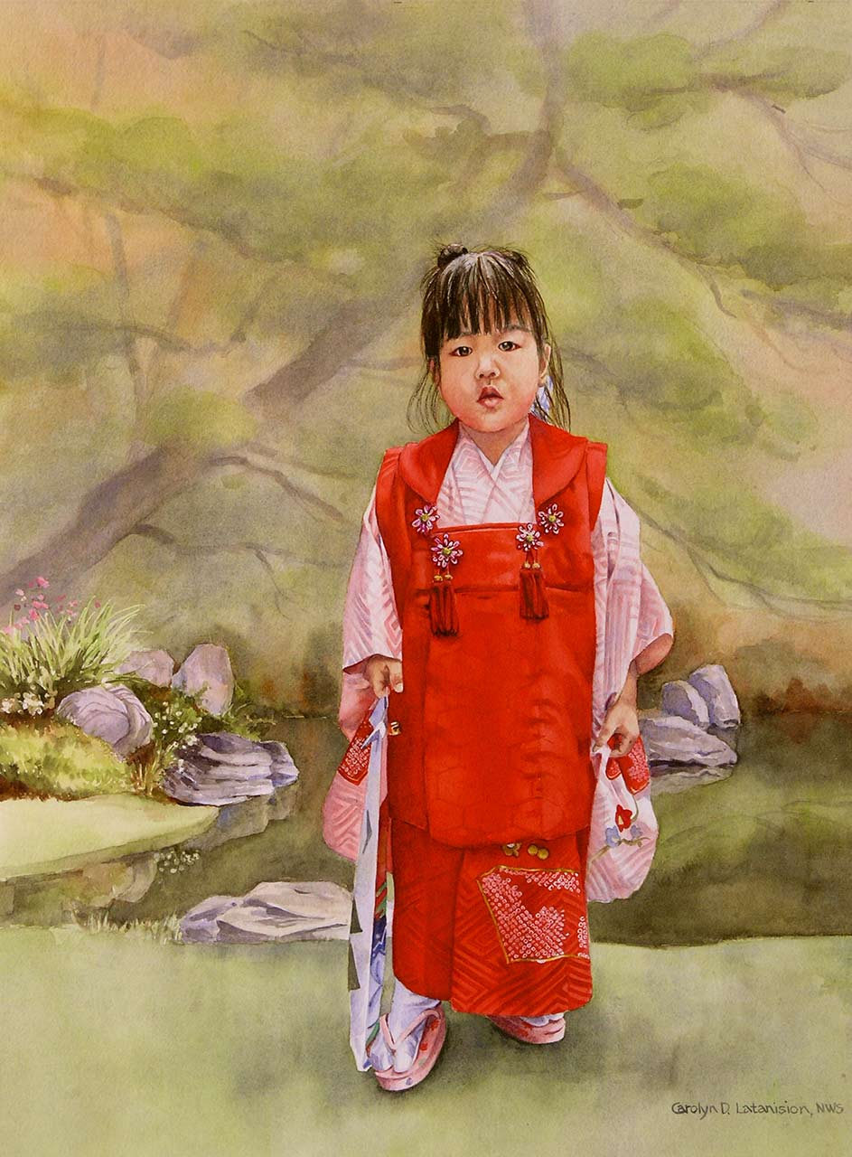 Little Japanese girl in Red | 23.5 x 17.5