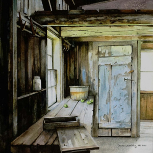 "At the Olson Farm   Watercolor 14"" x 14"""