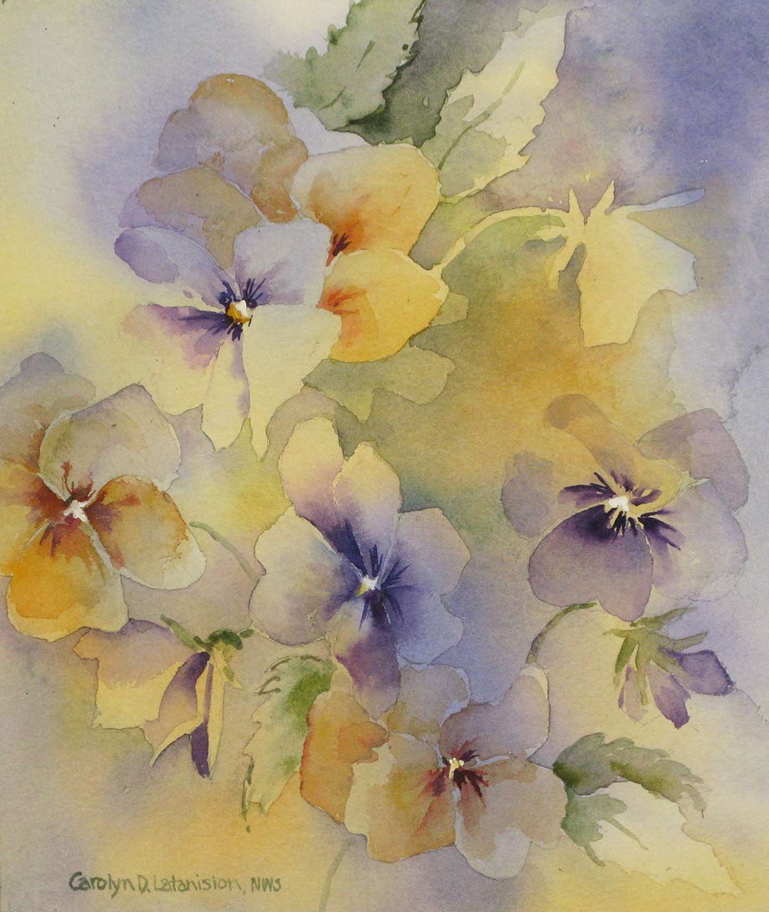 Pansies | 12 x 10 watercolor SOLD