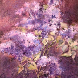 Scent of Lilacs II – 24 x 18 watermedia on canvas
