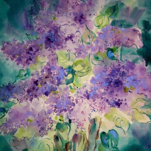Scent of Lilacs – 21 x 23 watercolor