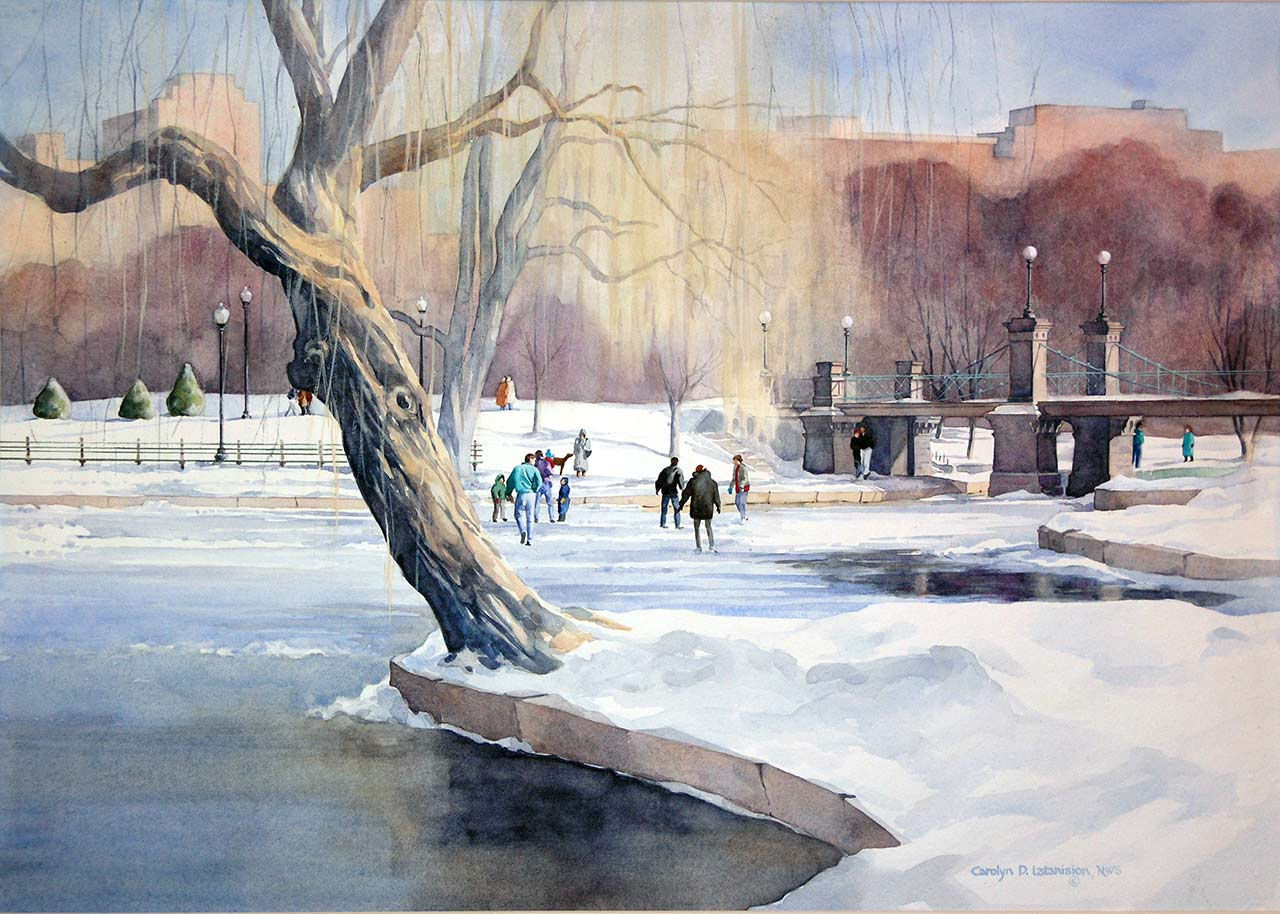 Skating on the Frog Pond | 21 x 29 watercolor