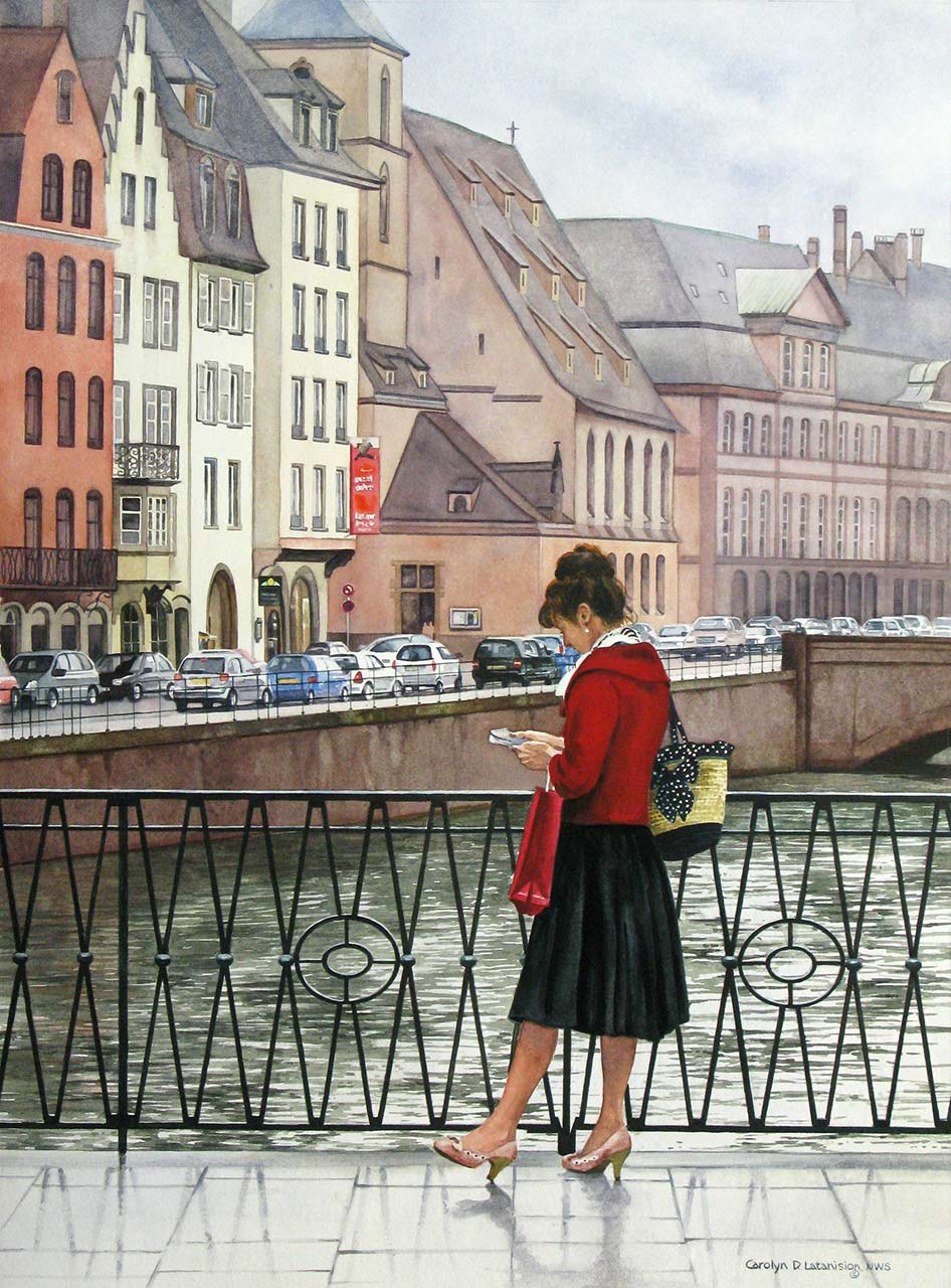 The Lady in Red, Strasbourg | 26.5 x 19.5 watercolor