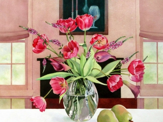 Tulips Times Nine | 20 x 20 watercolor SOLD