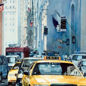 Wall Street Exodus | 17 x 29 watercolor SOLD
