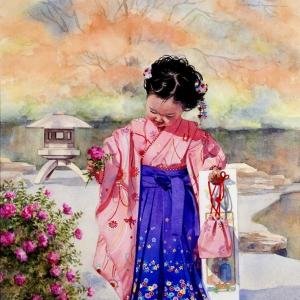 Kyoko's Camellia | 23.5 x 17.5 watercolor SOLD