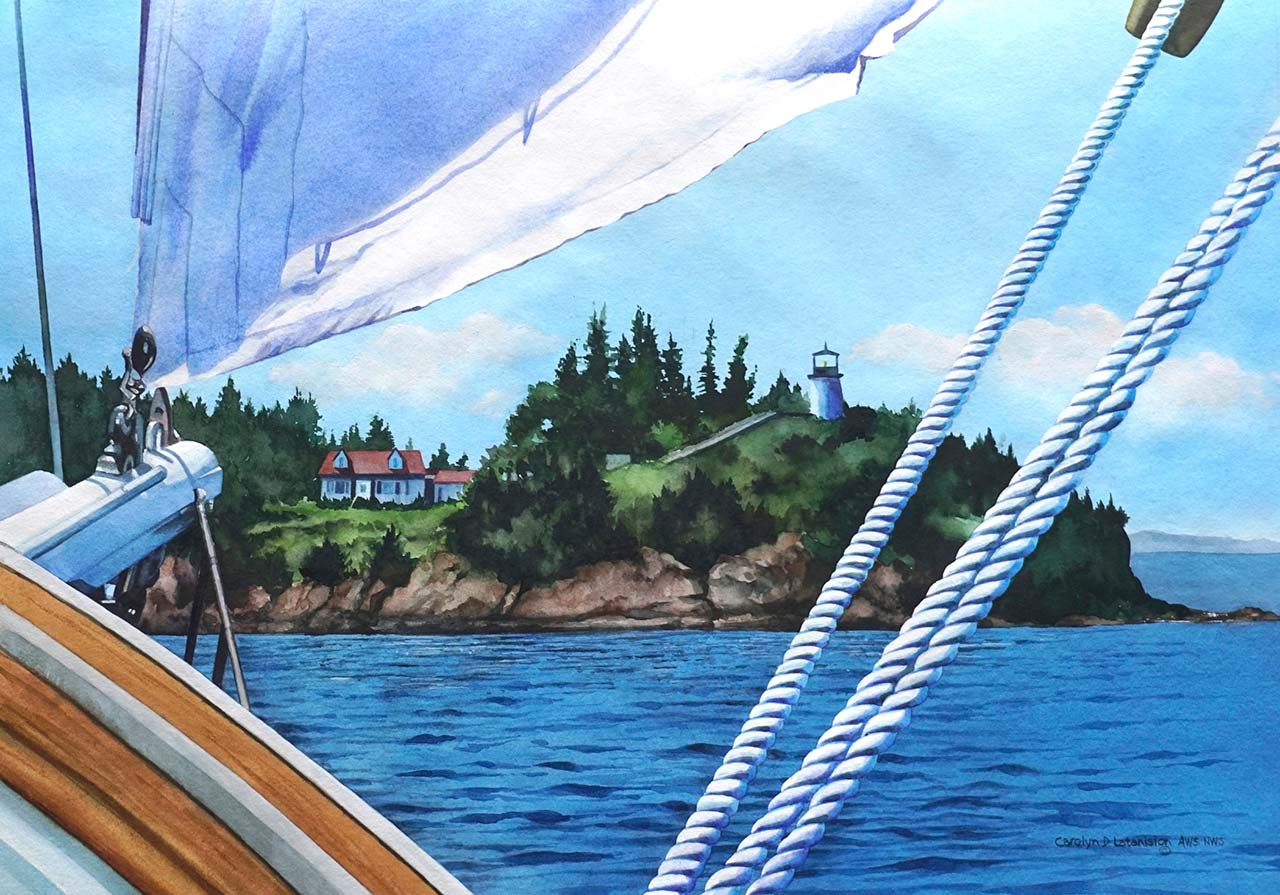 """Bound for Shore   Watercolor 18"""" x 26"""""""